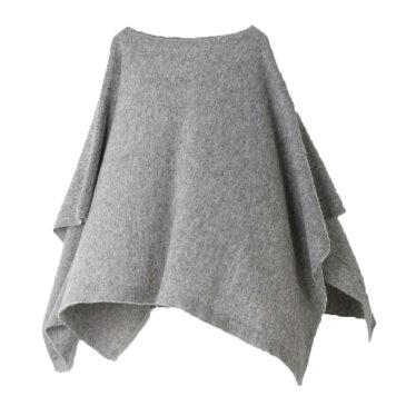 【ニットポンチョmino】winter yoko warm wool & alpaca ライトグレー フリーサイズ ウール&アルパカ [送料無料]