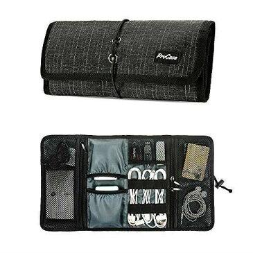 ProCase トラベルポーチ PC周辺小物整理 収納ポーチ オーガナイザーバッグ キャリーケース ロールアップ USBメモリー イヤホン ケーブル 配線 充電器 HDD収納 -ブラックペレイト