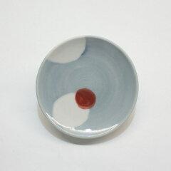 九谷青窯(くたにせいよう)皿朱入り白抜き丸紋3寸皿