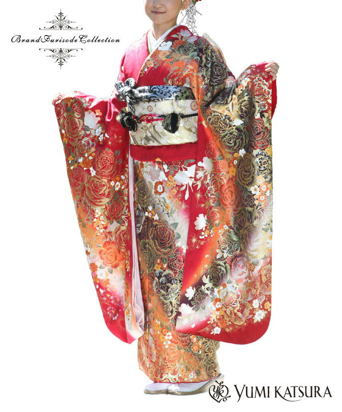 〈桂 由美 振袖〉〔成人式 振袖〕振袖レンタル01062 薔薇金彩モダン花刺繍ゴールド美振袖レンタル 〔レンタル 振袖〕〔成人式〕〔フルセット〕【往復送料無料】【振袖 赤色系】【女性和服】【振り袖】【着物レンタル】【レンタル】【o】
