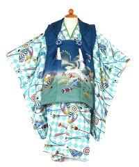 三歳着物被布セット男の子七五三モダン鷹刺繍扇水色/被布青色(3歳用90〜100cm)七五三レンタルfy16REN07