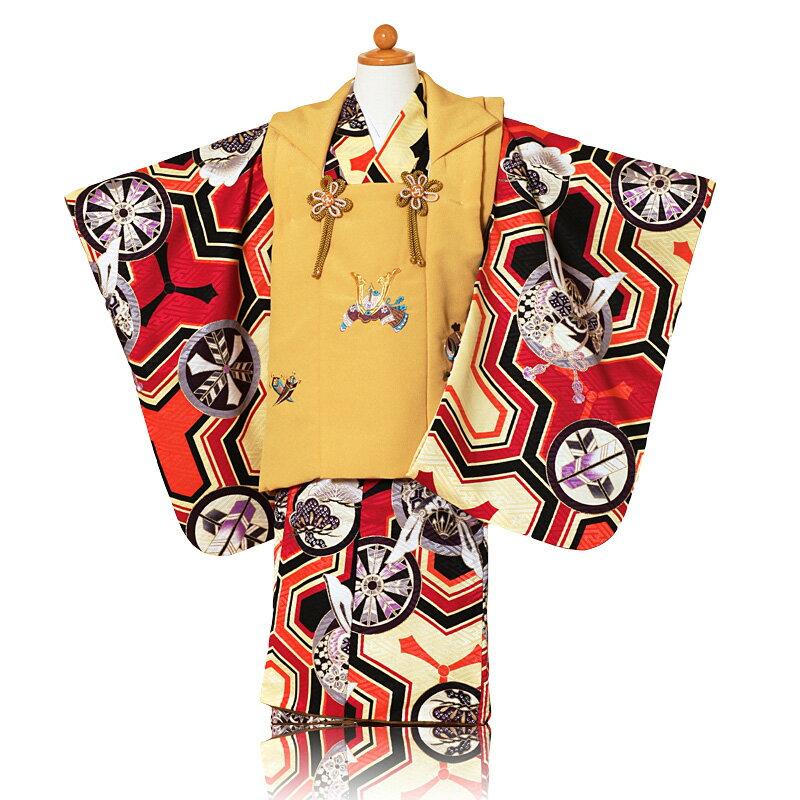 【レンタル】【被布】七五三(3歳男の子被布)赤着物×黄色兜刺繍【753 七五三 着物 3歳 被布 子供 きもの レンタル おとこのこ 男児 男子】