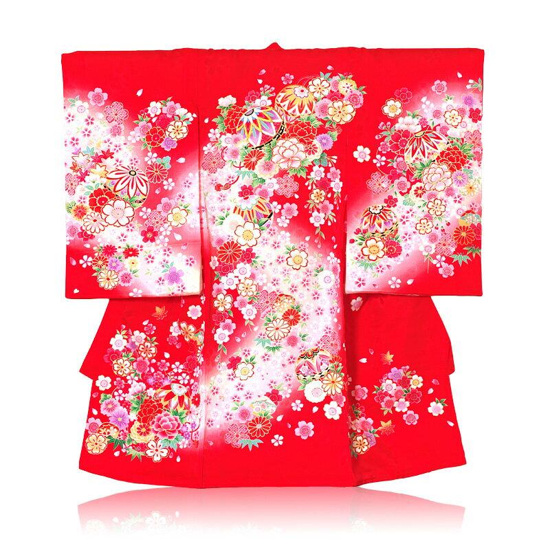 【レンタル】お宮参り女の子 初着 手鞠刺繍桜絞り柄レンタル 着物:赤色 産着 お宮参り レンタル 女の子 往復送料無料 【ab】