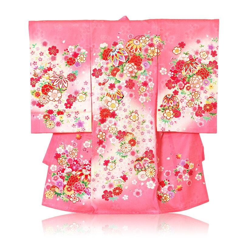 初着 レンタル 女の子 手鞠刺繍桜絞り柄レンタル 着物:ピンク色 産着 【ab】