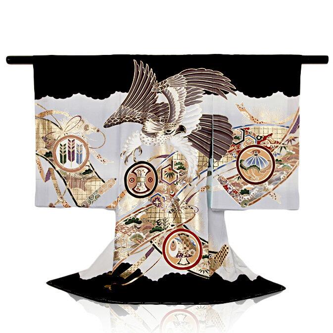 お宮参り レンタル 男の子(産着)鷹金巻絵図祝着レンタル 着物:黒色お宮参り レンタル ベビー お宮参り レンタル 産着 お宮参り レンタル 祝着 レンタル【レンタル】【b】