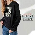 Tシャツ ロンT Uネック クルーネック 丸首 綿 長袖 カットソー メンズ レディース photo Cig. タバコを吸う女性 おとなかわいい 男女ペアでも使えるコーデ幅の増えるシンプルロンTです!!