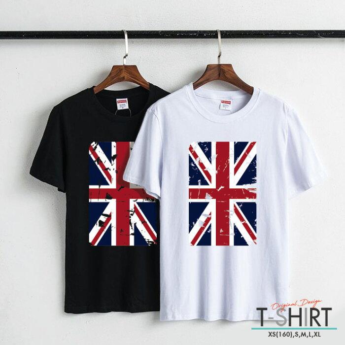 Tシャツ レディース メンズ Uネック クルーネック 丸首 綿 半袖 カットソー ロゴ プリント 大人かわいい オシャレ ペア カップル おそろ リンクコーデ かっこいい おしゃれ ユニオン ジャック 国旗 ボロボロ Union Jack