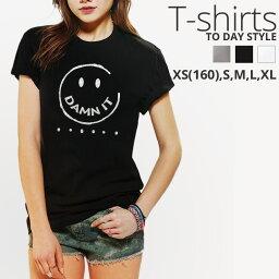 Tシャツ レディース メンズ クルーネック 丸首 綿 半袖 カットソー ロゴ プリント ニコちゃん スマイリー グリッター 大人かわいい かわいい ロゴ ペア カップル おそろ リンクコーデ