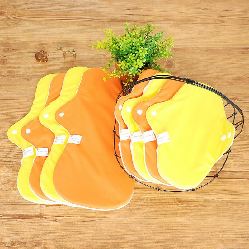 【洗濯が簡単・3D】昼用・夜用布ナプキン(25~36cm8枚)まとめ割セット イエロー/オレンジ|洗濯が楽ちんな3D立体構造布ナプキン