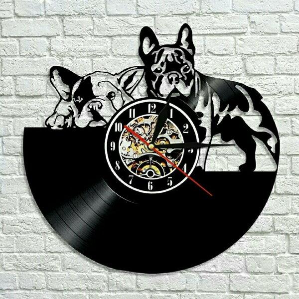犬フレンチブルドッグレコード盤壁掛け時計クロックウォッチインテリアアート輸入雑貨黒ブラック30cm