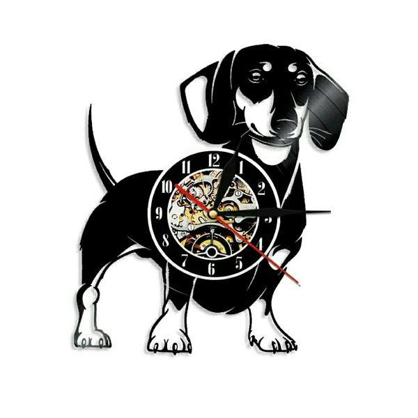 犬ダックスフントレコード盤壁掛け時計クロックウォッチインテリアアート輸入雑貨黒ブラック30cm
