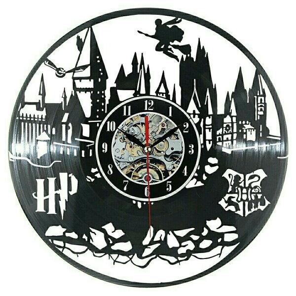 ハリーポッターホグワーツレコード盤壁掛け時計クロックウォッチインテリアアート輸入雑貨黒ブラック30cm