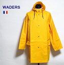 フランス WADERS イエロー レイン コート / ロング ジャケット ブルゾン アウター フード パーカー 雨具 カッパ 合羽 / デッドストック / pd・・・