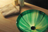 【送料無料】【AQUA】グリーン(Lサイズ)|ガラス手洗鉢。ガラス製の洗面ボール