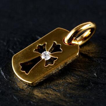 ブラックフライデー 22K ゴールドGP カットアウトクロスドッグタグ センターストーン クロムハーツが当たる メンズ ジュエリー 贈り物 誕生日プレゼント 誕生日 プレゼント お兄系 アクセサリー シルバー ゴールド 刻印 彼氏 人気 ブランド