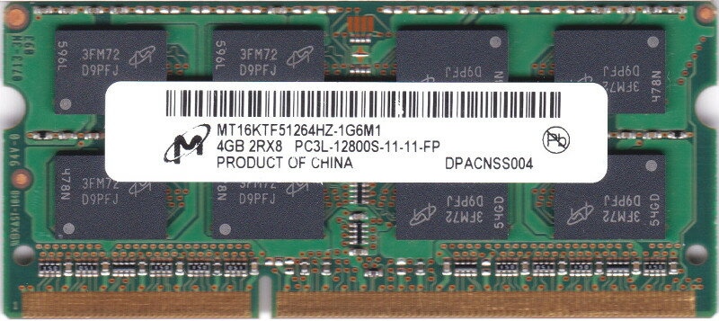 増設メモリ, PC用メモリ Micron (1.35 V) PC3-12800S (DDR3-1600) 4GB SO-DIMM 204pin MT16KTF51264HZ-1G6M1