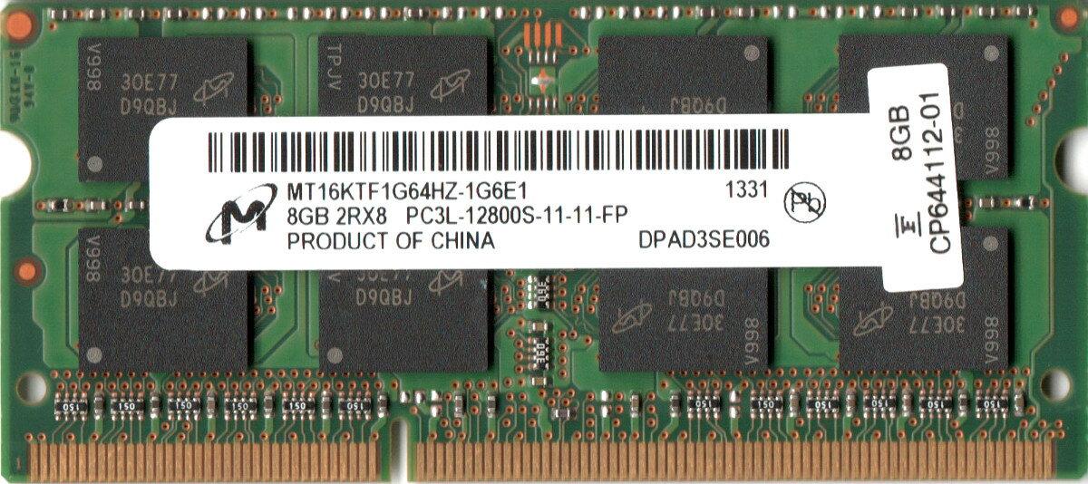増設メモリ, PC用メモリ Micron (1.35V) PC3L-12800S (DDR3L-1600) 8GB SO-DIMM 204pin MT16KTF1G64HZ-1G6E1 (2Rx8)