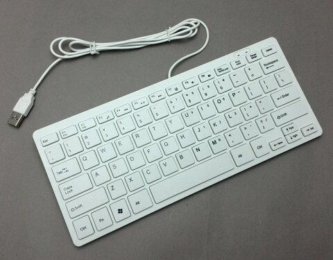 【送料無料】Windows対応 USB接続有線コンパクトスリムキーボード☆ ショートカットキー付き ホワイト