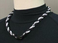 【ファイテン】ラクワネックX50ツイスト編みカラー:ブラック×ホワイト完成サイズ:約56cm