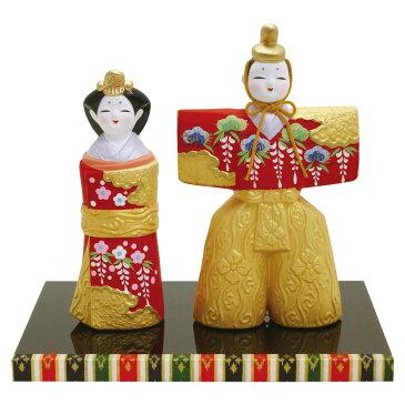 雛人形(ひな人形) 『極彩立雛 京雛』手作り陶製細工 かわいい マンションサイズ コンパクト ひなまつり 桃の節供 お雛様