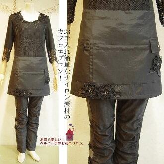 易護理尼龍咖啡廳圍裙 ! 圍裙圍裙可愛尼龍蓋時尚大尺寸黑色圍裙贈品圍裙花/花尼龍咖啡廳圍裙