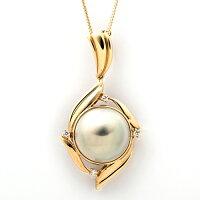 K18マベ真珠ダイヤモンド0.09ctネックレス