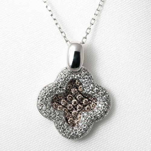 K18WG ブラウンダイヤモンド 0.65ct ダイヤモンド 0.38ct ネックレス