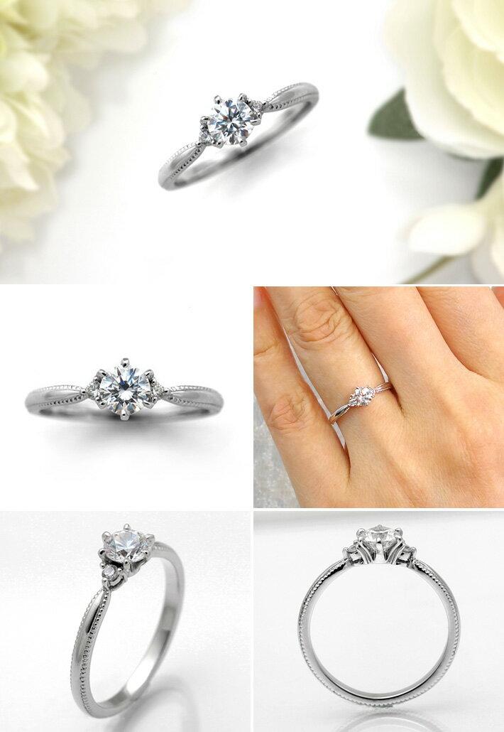 婚約指輪 プラチナ ダイヤモンドエンゲージリング 0.40ctUP Dカラー VVS1 トリプルエクセレントカット GIA鑑定