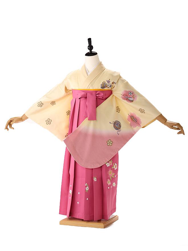 【レンタル】【小学生 袴 レンタル 女】 着物 3泊4日レンタル [往復送料無料] 黄色 pink fc9062