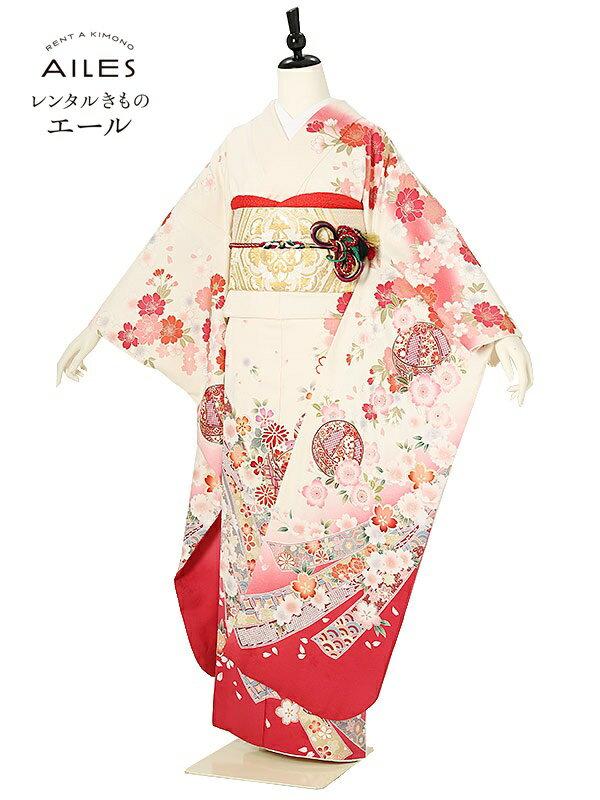 (レンタル)振袖レンタル フルセット(2月〜11月)AC0157 白 ピンク 花模様 結婚式 結納 レンタル 貸衣裳 袋帯 草履 バック 振袖 レンタル ふりそで 女性和服 フリソデ 着物 きもの 新品足袋プレゼント 送料無料
