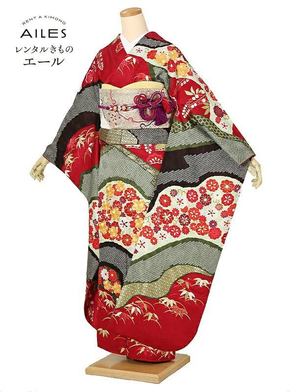 (レンタル)振袖レンタル フルセット(2月〜11月)AC0194 赤 絞り波 花模様 結婚式 結納 レンタル 貸衣裳 袋帯 草履 バック 振袖 レンタル ふりそで 女性和服 フリソデ 着物 きもの 新品足袋プレゼント 送料無料