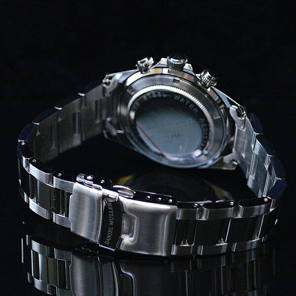 腕時計 メンズ クロノグラフ DANIEL MULLER ダニエルミューラー DM-2003-BK 人気 ブランド 【ベルト調整工具プレゼント!】
