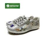 レモンテ[REMONTE]レディース靴カジュアルシューズ品番R1402お買い得品色マルチフラワー/レースアップシューズ/外側ファスナー付/リーカ姉妹ブランド