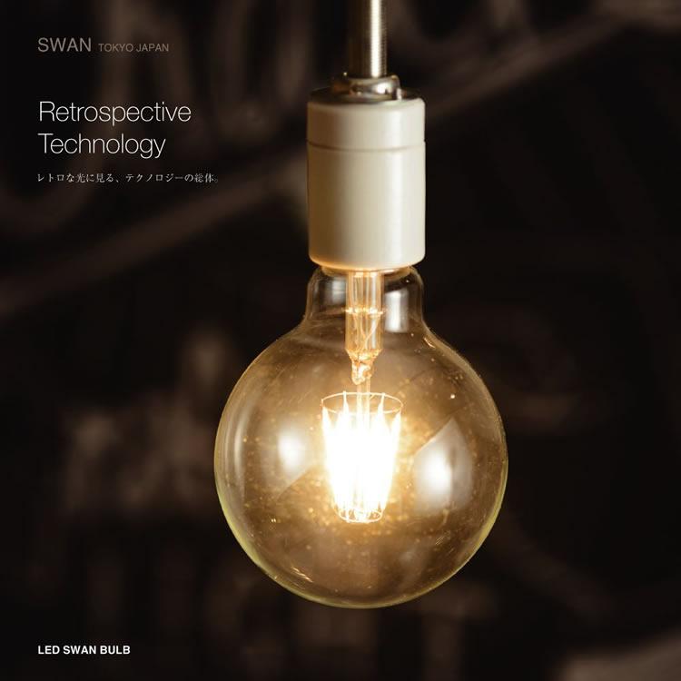 スワン電器 LEDランプ LED 電球 天井照明 プレゼント ギフト 贈り物 おしゃれ カフェ レトロ モダン デザイン ランプ SWAN BULB Ball (スワン バルブ ボール) SWB-G200L