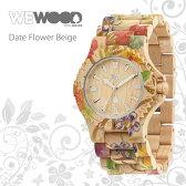 WEWOOD ウィーウッド Date Flower Beige デイト フラワー ベージュ 9818035 腕時計 おしゃれ 花柄時計 メンズ レディース 男女兼用 天然木製 ナチュラル 国内正規品 ベルト調整無料 ギフト プレゼント 海外セレブ使用 デザイナーズ ウォッチ