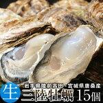牡蠣三陸産生牡蠣殻付きL15個生食用真牡蠣陸前高田気仙沼産生がき漁師直送