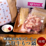 もつなべ鳥取牛もつ鍋セット[2〜3人前]無添加味噌味鳥取県産黒毛和牛ホルモン牛もつ鍋