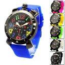 腕時計 レディース ウォッチ トップリューズ式 カラフルラバーベルト クオーツ