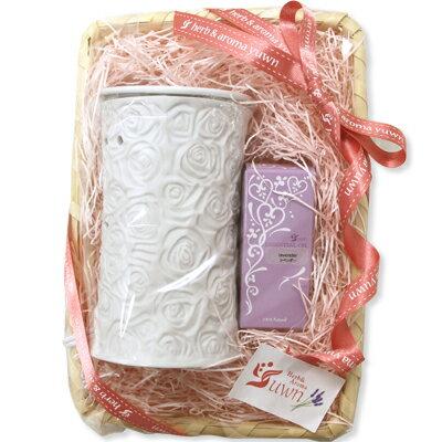 プチギフトセット アロマライト ローズホワイト ショート+お好きな精油1本セット 香りとランプのセット 女性 誕生日や贈り物に プレゼント【送料無料】