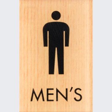 男 MEN'S 木目調 メープル 60×40mm 標識 表示 ルームプレート トイレマーク ドア