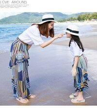 ボヘミア風リゾートスカート+Tシャツ親子ペアセットアップ子供スカートセット大人スカートセットビーチ柔らかい肌にやさしい海リゾート旅行家族記念日常着装