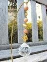 スタンド付き オレンジムーンストーン&パール&イエローカルサイトのサンキャッチャー、クリアー/天然石 ...
