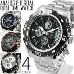送料無料1年保証メンズ腕時計アナログ&デジタルビッグフェイスデュアルタイム腕時計全4色new0213WT-FAnew0203P25Apr15