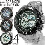 送料無料1年保証メンズ腕時計アナログ&デジタルビッグフェイスデュアルタイム腕時計全4色new0213WT-FAP25Apr15
