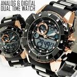 送料無料1年保証BOX付きメンズ腕時計アナログ&デジタルビッグフェイスデュアルタイム腕時計WT-FA