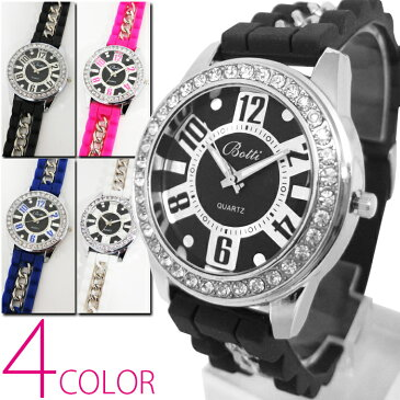 1年保証 チェーン&ラバーベルト仕様 レディース 腕時計 ビッグフェイス 腕時計 全4色 保証書付 ssstk 10P03Dec16 AOR-A