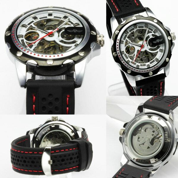 1年保証 BOX付き 全2色 メンズ 腕時計 自動巻き フルスケルトン 自動巻き腕時計 1210 0125