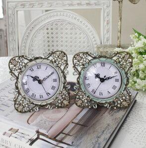 ジュエルストーンの置時計♪(スクエア型)アンティーク風シャビーシックフレンチカントリーテーブルクロックアンティーク雑貨antiquefrenchcountry