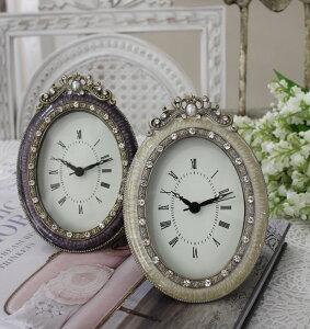 エナメルストーンの置時計♪(オーバル型)アンティーク風シャビーシックフレンチカントリーテーブルクロックアンティーク雑貨antiquefrenchcountry