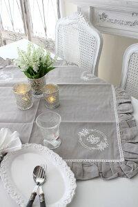 フランスから届くフレンチリネン(テーブルクロス85cm角(リネングレー))【BlancdeParis】トップクロスモノグラム刺繍シャビーシックアンティーク風フレンチカントリーフランス